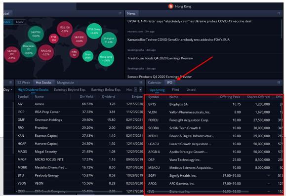 webull IPO 리스트