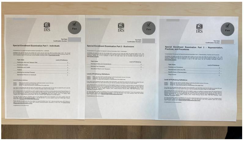 EA 시험 합격증 이미지